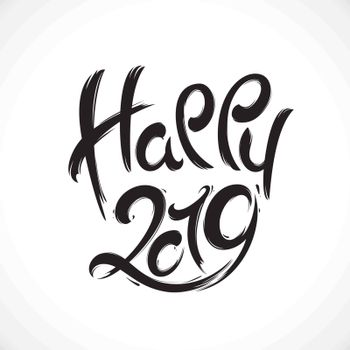 2019 New Year handwritten lettering greeting card made in black and white style.Hand drawn vector illustration