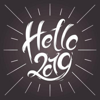 2019 New Year greeting card. Hand drawn vector illustration