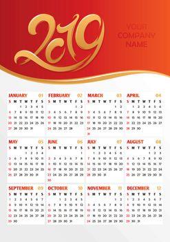 2019 office calendar vector illustration