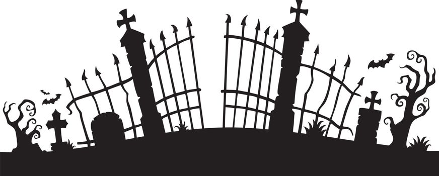 Cemetery gate silhouette theme 1 - eps10 vector illustration.