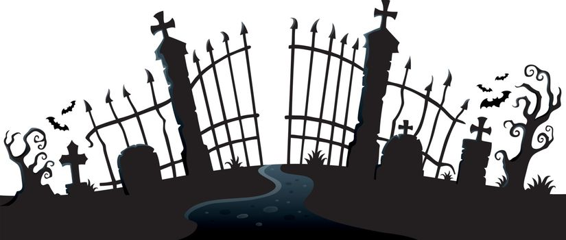 Cemetery gate silhouette theme 2 - eps10 vector illustration.