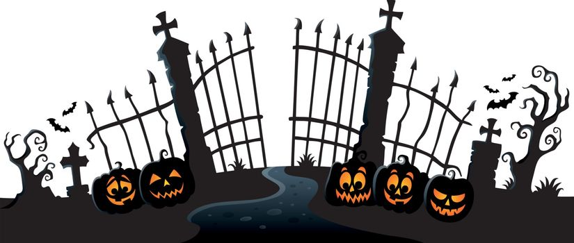 Cemetery gate silhouette theme 3 - eps10 vector illustration.