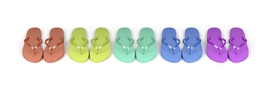 Flip-flops with different colors