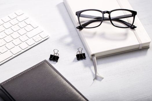 Diary keyboard and glasses