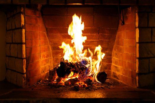 Autumn or winter burning fireplace