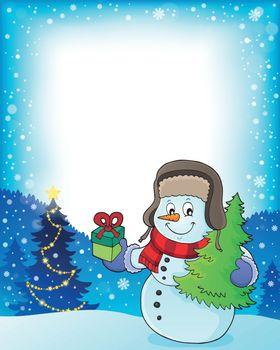 Christmas snowman subject frame 1