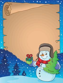 Christmas snowman subject parchment 1