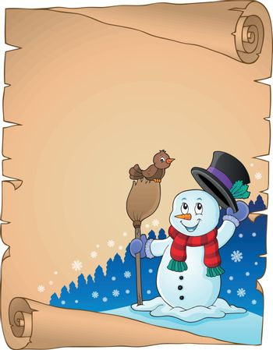 Winter snowman subject parchment 1