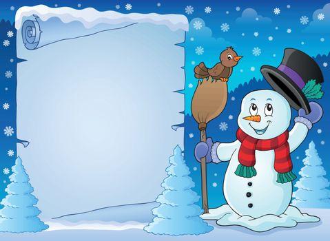 Winter snowman subject parchment 2