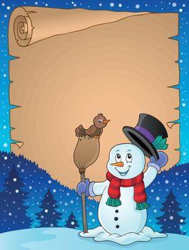 Winter snowman subject parchment 3