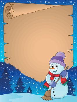 Winter snowman subject parchment 4