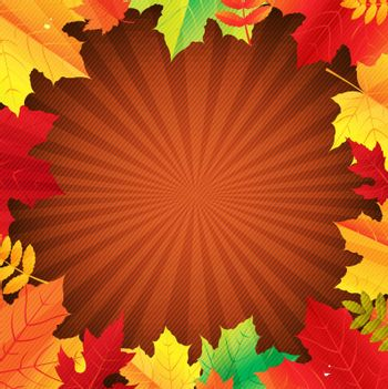 Autumn Poster With Leaves With Gradient Mesh, Vector Illustration