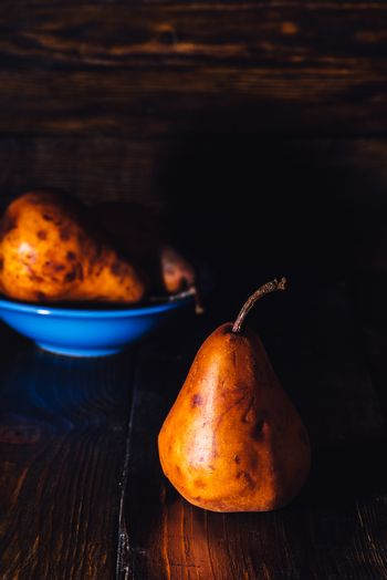 Golden Pear and Some on Background