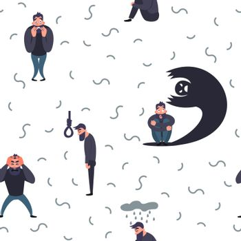 Group of people with psychology or psychiatric problem. Illness men in anxiety disorder. Phobia, suicide, fear and other mental disorder vector illustration