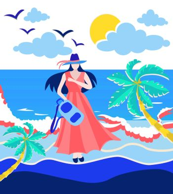 illustration of the sea, sun and Girl holding backpack on the beach. Character design, vacation concept