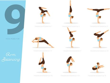 Vector illustration of 9 Yoga poses for arm balancing