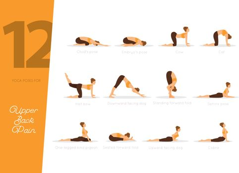 Vector illustration of 12 Yoga poses for upper back pain