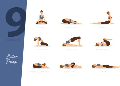 Vector illustration of 9 yoga poses for better sleep