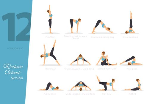 Vector illustration of 12 Yoga poses to reduce headaches