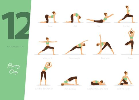 Vector illustration of 12 Yoga poses for every day