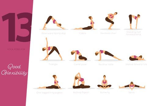 Vector illustration of 13 yoga poses for good flexibility