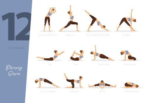 Vector illustration of 12 Yoga poses for strong core