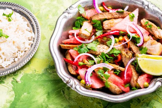 Salad with veal and watermelon