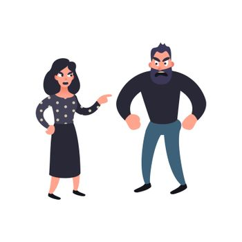 Man and woman conflict. Family quarrel. Problems in relationship concept. Angry couple fighting and shouting at each other. Vector illustration in flat style.
