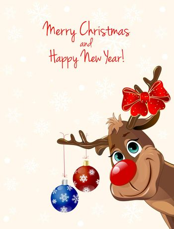 Cartoon deer decorated with Christmas fir-decorations and a bow-knot. Greeting card for Christmas.