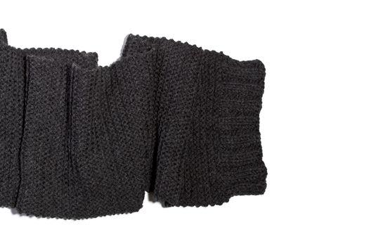 Knitted wool dark grey scarf