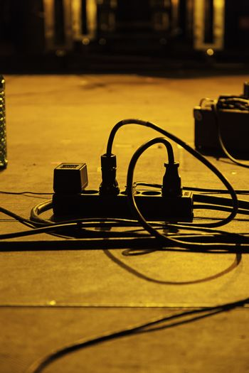 Cables in a rock concert, detail of music, sound and fun