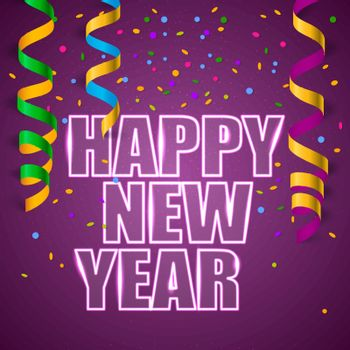 Vector illustration of Happy New Year with confetti