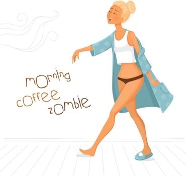 Vector illustration of Morning coffee zombie