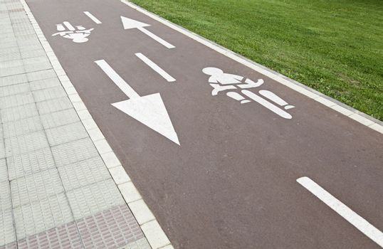 Bike paths in the city, detail of a road bike in the city
