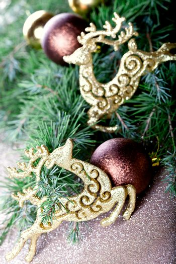 Christmas decorations and fir tree.