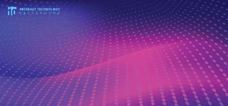 Abstract furturistic technology radial dots pattern on smooth fantasy motion blurred wave pink light trail on blue background. Vector illustration