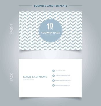 Name card template abstract geometric wave, wavy, chevron pattern blue pastels color on white background. Vector illustration