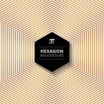 Abstract gold color hexagons lines pattern background with black hexagon text box design on white background. Vector illustration