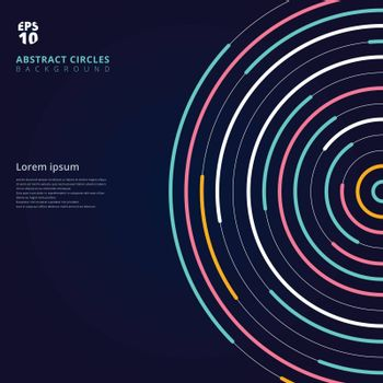 Abstract template colorful lines bright circles pattern on dark background. You can use for cover brochure, banner, website, poster, leaflet. annual report, print, book. Vector illustration