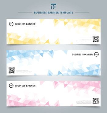 Set of abstract banner template yellow, blue, pink pastel color triangles geometric pattern on white background. Vector corporate design