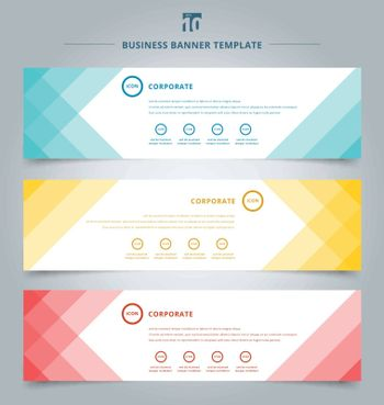 Set of banner web templates geometric header design background. Vector illustration