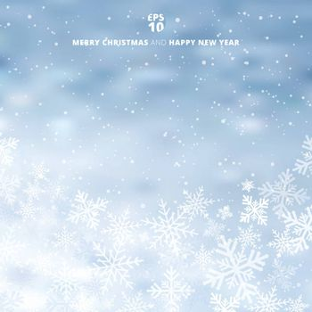 Winter blurred blue background with snow and snowflake on christmas holiday and new year. Copy space. Vector illustration.