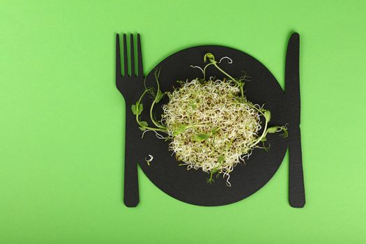 Fresh microgreen salad sprouts on board over green