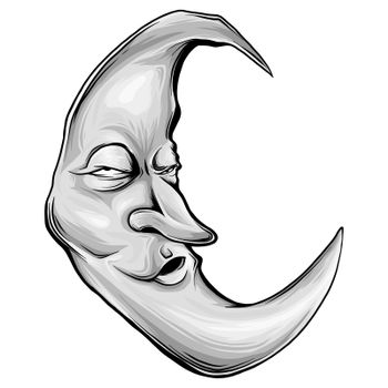 Moon with face engraving colorful illustration. Scratch board style imitation.