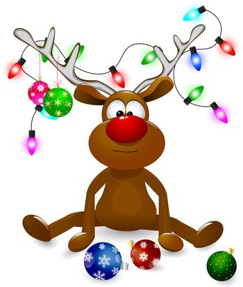 Cartoon deer decorated with Christmas fir-decorations and a bow-knot. A deer with a red nose on a white background.