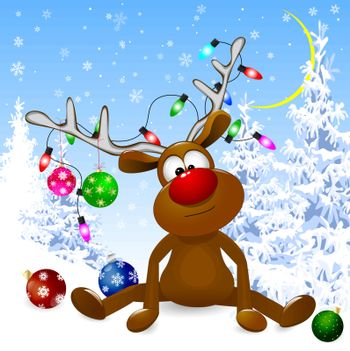 Cartoon deer decorated with Christmas fir-decorations and a bow-knot. A deer with a red nose on a winter snow forest.