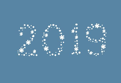 Figures 2019. New Year greeting card design. Vector illustration snowflake numbers