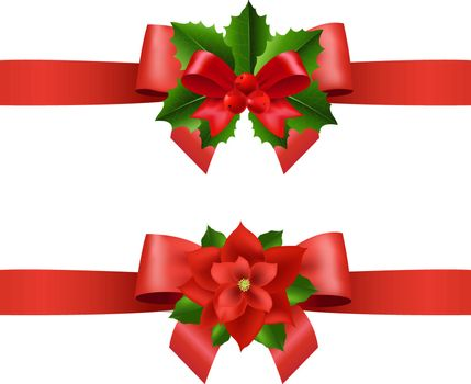 Red Ribbon With Holly Berry And Poinsettia