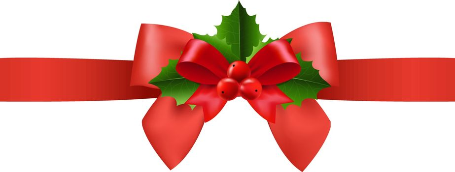 Red Ribbon With Holly Berry White Background