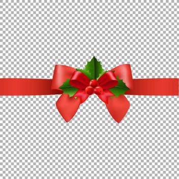 Red Ribbon With Holly Berry Transparent Background